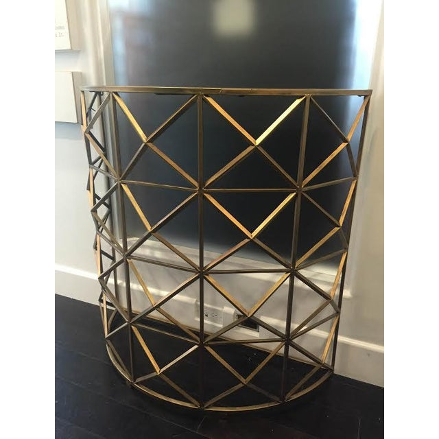 Gold Handforged Iron Geometric Console Table - Image 3 of 5