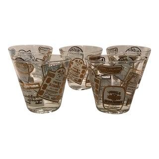 Gold & White Print Lowball Glasses -Set of 5