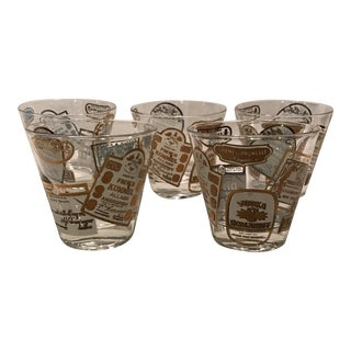 Gold & White Print Lowball Glasses -Set of 5