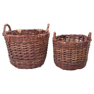 Early-1900s French Nesting Baskets - A Pair