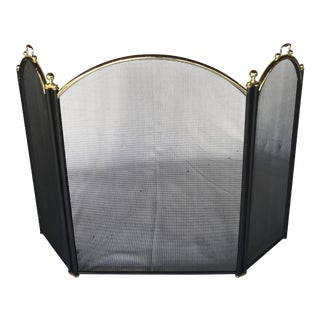 Black Iron and Mesh Fireplace Screen