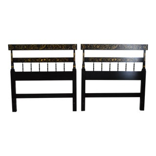 Hitchcock Black Stenciled Twin Headboards - a Pair
