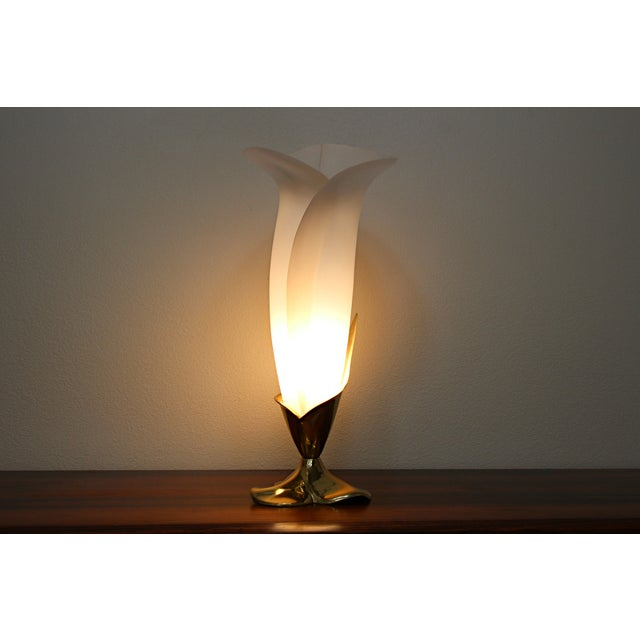 Image of Rougier Brass & Acrylic Calla Lily Table Lamp