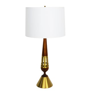 Tony Paul Westwood Brass & Walnut Table Lamp