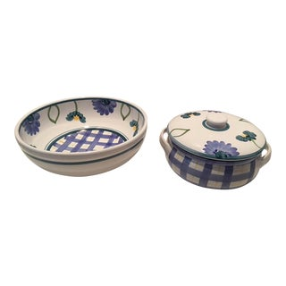 Caleca Arioso Italian Serving Bowl & Covered Casserole - A Pair