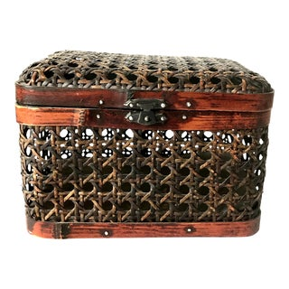 Dark Woven Enclosed Lidded Basket