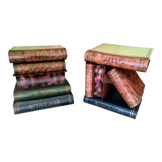 Italian Toleware Stacked Book Form Flip Top Side or Accent End Tables - A Pair