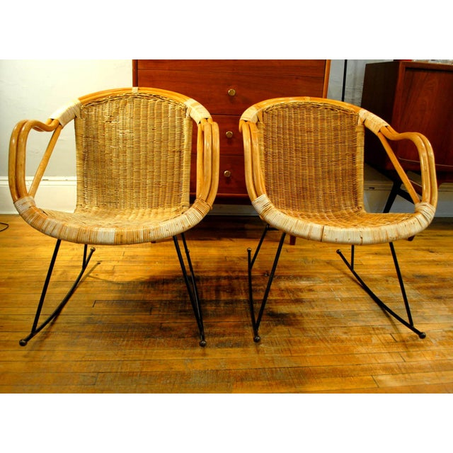 Midcentury Rattan and Wicker Rockers- A Pair - Image 2 of 11