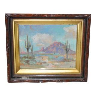 Vintage Desert Saguaro Landscape Painting