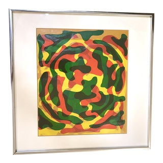 Framed 1970s Silk Screen Abstract