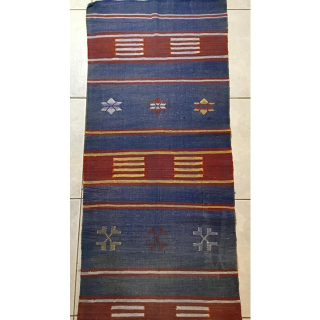 "Moroccan Cactus Silk Flat Weave Kilim Runner Rug - 25"" x 108"" - Image 11 of 11"