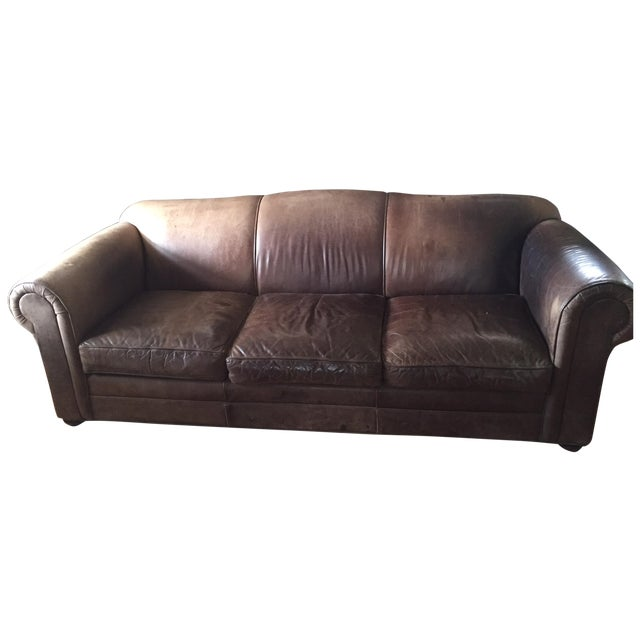 Mitchell Gold Brown Leather Sofa - Image 1 of 8