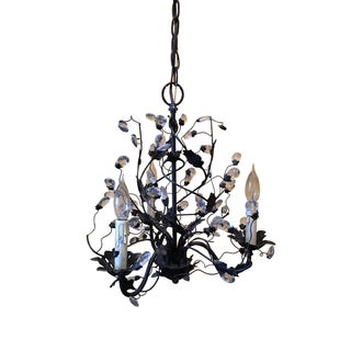 Black Tole & Crystal Three-Arm Chandelier
