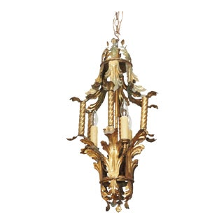 PAIR OF ITALIAN GOLD PAINT METAL LANTERN