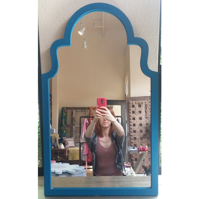 Image of Blue Wooden Frame Mirror