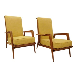 Pair of Modernist Reclining Lounge Chairs in Oak, edited by Steiner designed by Etienne Henri Martin