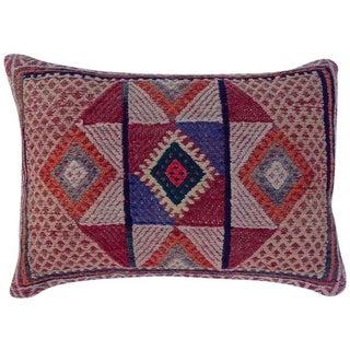 Vintage Turkish Embroidered Kilim Pillow