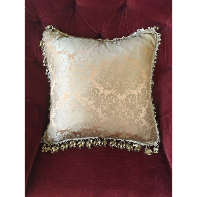 French Antique Silk Damask Pillow - Image 2 of 11
