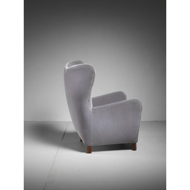 Fritz Hansen High Wingback Grey Velour Lounge Chair, Denmark, 1940s - Image 4 of 5