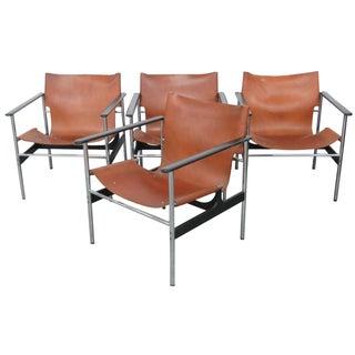 Modern Leather & Chrome Armchairs - 4