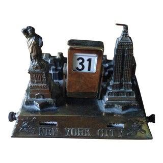 Vintage Brass Nyc Perpetual Desk Calendar