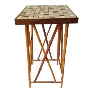 Mid-Century Tiled Bamboo Plant Side Table
