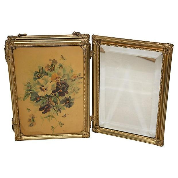 Image of 19th C. Celluloid Trifold Beveled Mirror