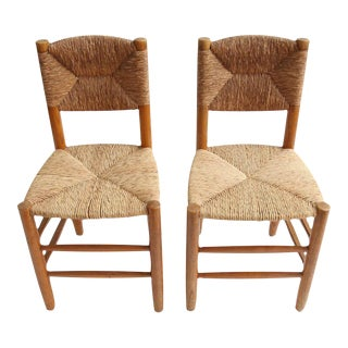 Charlotte Perriand Oak Side Chairs - A Pair