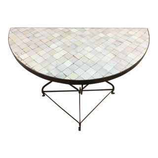 Moroccan Handmade Tile Topped Demi-Lune Console Table