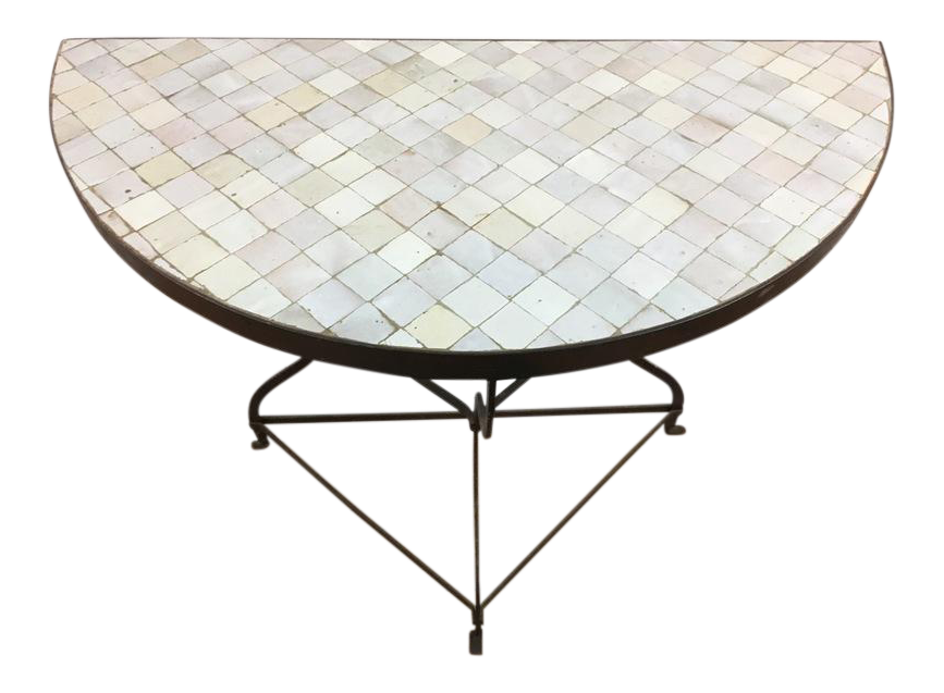 Moroccan Handmade Tile Topped Demi Lune Console Table