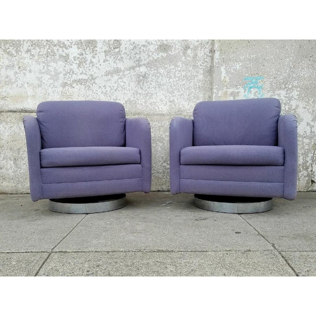 Vintage Lilac Swivel Club Chairs - A Pair - Image 2 of 5