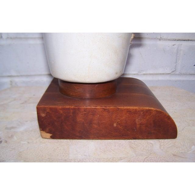 Image of Vintage Art Deco Small Cubist Ceramic & Wood Lamp