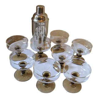 Vintage Mid-Century Modern Champagne Coupes by Libbey Rock Sharpe - Set of 8