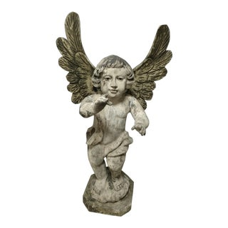 Vintage Carved Religious Sculpture of Standing Angel