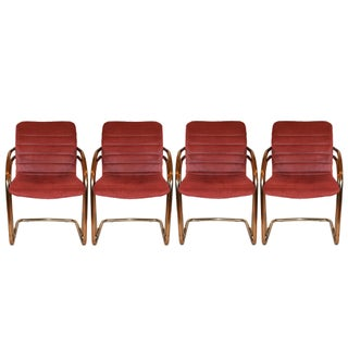 Vintage Gold Cantilever Dining Chairs - Set of 4
