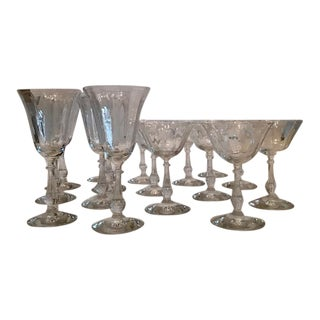 Vintage Art Deco Cut Crystal Rib & Ball Glasses - Set of 16