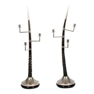 Pair of Large Oryx Horn Three-Arm Candelabra