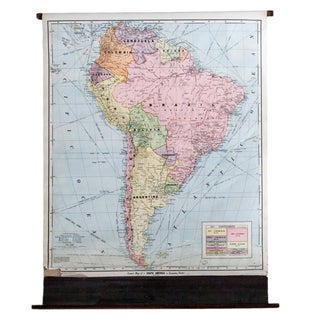 Vintage Cram's Pull Down Map of South America