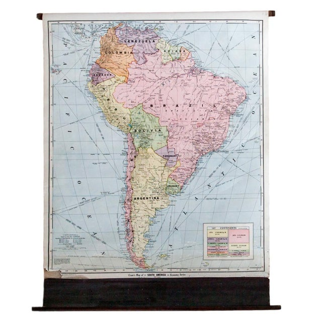 Vintage Cram's Pull Down Map of South America - Image 1 of 5