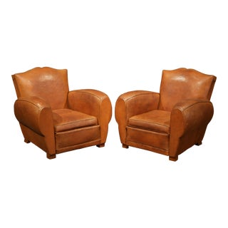 "Pair of Early 20th Century French Leather Club Armchairs ""Moustache Syle"""