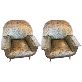 Italian Mid-Century Modern Club Chairs with Faux Snake Skin - A Pair