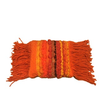 Vintage Chunky Handwoven & Fringed Throw Pillow in Orange & Autumnal Colors