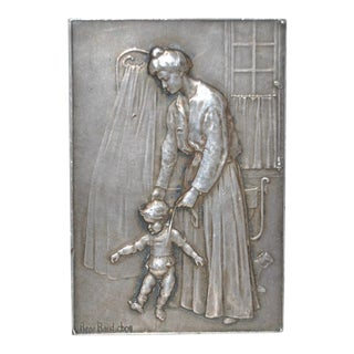 "Rene Baudichon ""Mother & Child"" Silver Plaque c.1904"