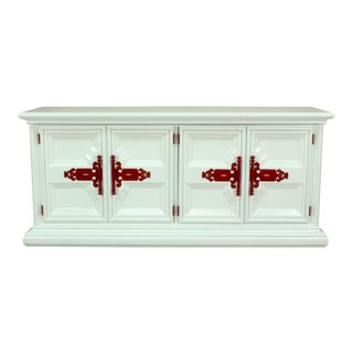 Glossy White & Red Sideboard