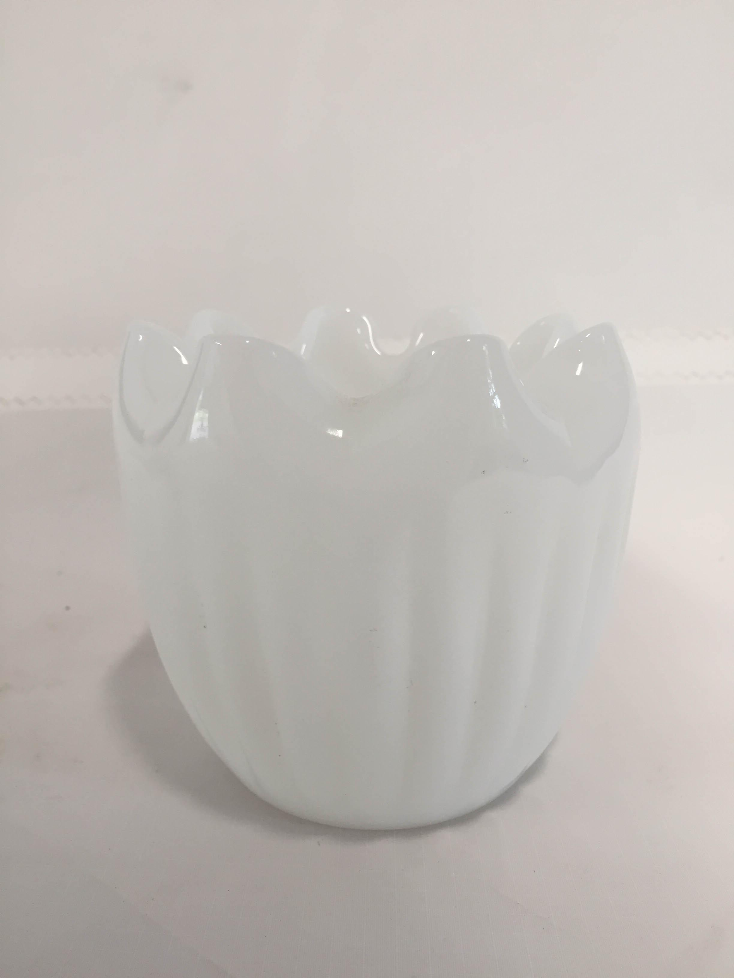 midcentury modern milk glass ruffle vase | chairish, Powerpoint templates