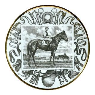 Piero Fornasetti Race Horse Plate, Grand Campioni Italiani Del Galoppe (Great Italian Equestrian Champions) #10, Tenerani