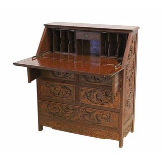Vintage Hand Carved Chinese Desk W/Drop Down Front
