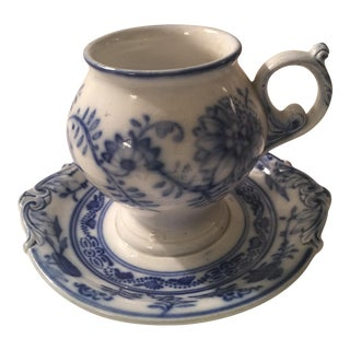 Villeroy & Boch Blue & White Cup & Saucer - A Pair
