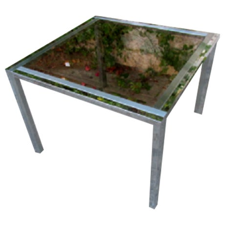 Mid-Century Chrome & Glass Side Table - Image 1 of 4