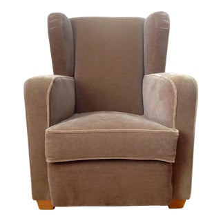 Art Deco Tobacco Mohair Club Chair